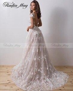 Image 5 - Sexy Backless Spitze Meerjungfrau Hochzeit Kleid mit Ärmeln Boot ausschnitt 3D Blume Hochzeit Kleider Abnehmbare Zug Appliques Brautkleid
