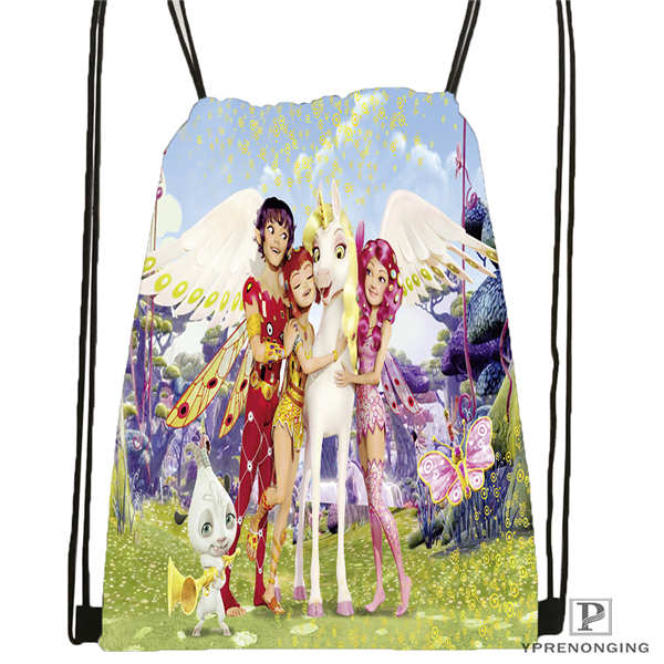 Custom Mia-And-Cartoon Me-Drawstring Backpack Bag For Man Woman Cute Daypack Kids Satchel (Black Back) 31x40cm#20180611-03-140