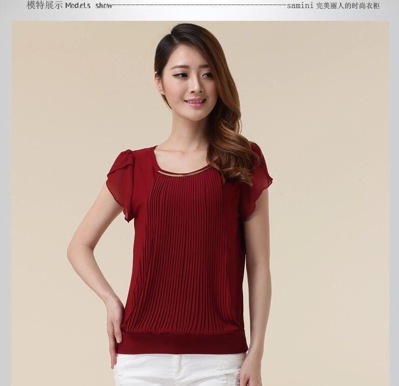 4366656019e99 2015 Primavera Verano moda de Manga Corta Cuello Redondo Sólido Plisado  blusa camisas de las mujeres blusa femenina