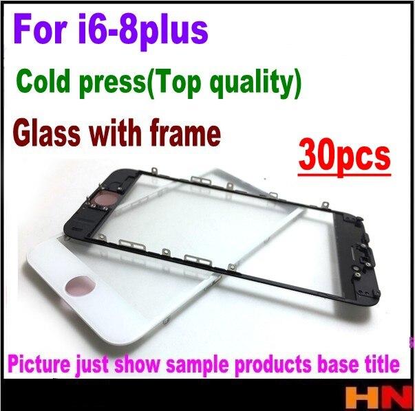 30pcs cold press For iPhone 8 8P 7 7p 6S 6 Plus Black White Front Glass