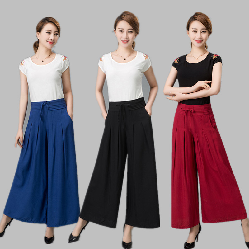Loose wide leg   pants     capris   summer culottes fluid casual   pants   high waist plus size skorts wide leg   pants