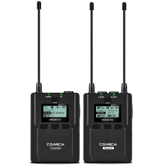 CoMica CVM WM200 Pro Wireless Metal Microphone 1 Transmitter 1 Receiver 120M Recording for DSLR Camcorder Video by Batteries