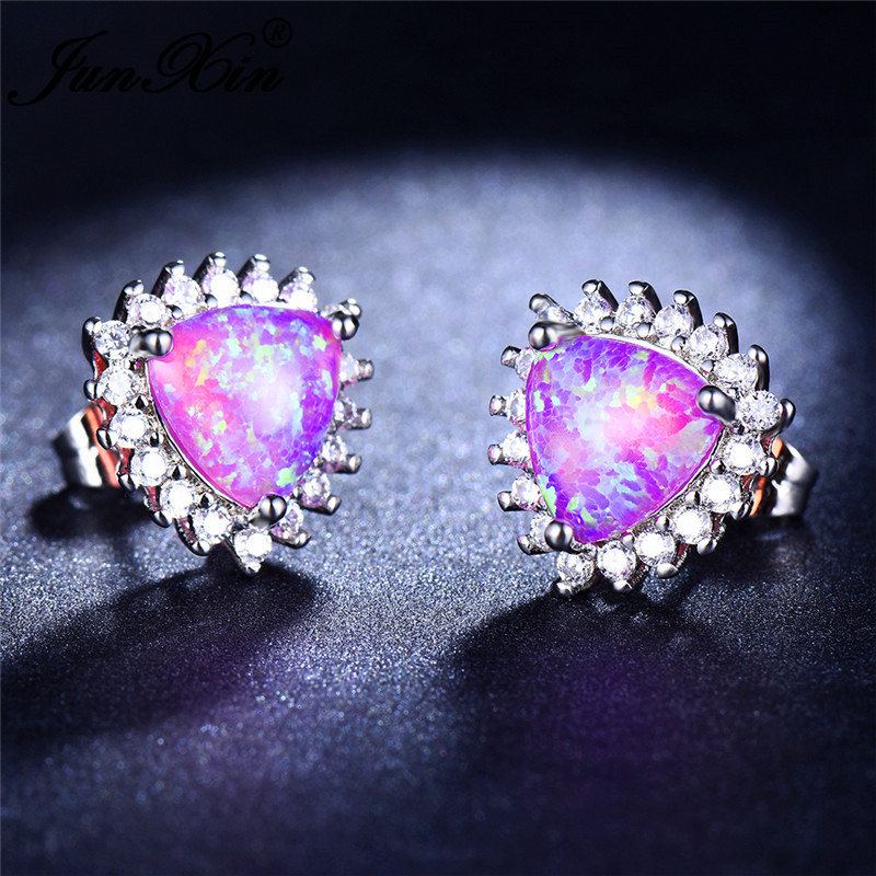 JUNXIN Female Geometry Triangle Stud Earrings For Women Silver Color Blue Purple Green White Fire Opal Studded Earrings CZ