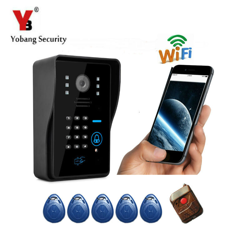 YobangSecurity Wireless WiFi Remote Video Door Phone Intercom Doorbell Camera with RFID Keyfobs,Remote Controller android IOS