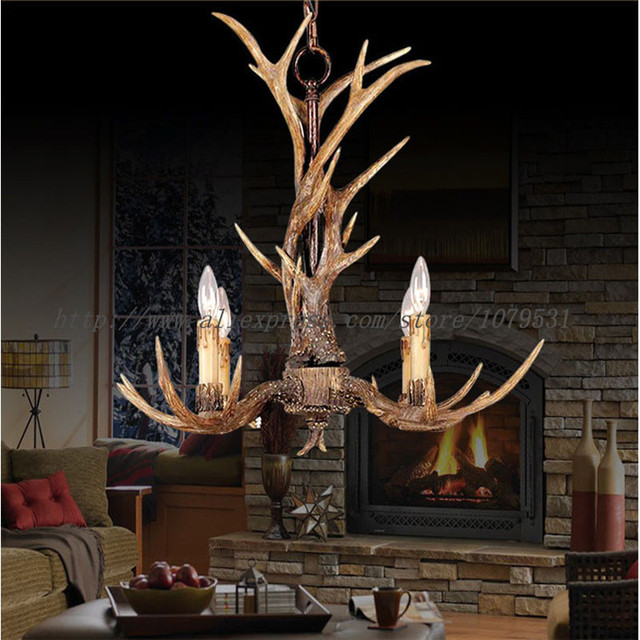 Europe pays 4 têtes brun salle à manger lustres en bois de cerf lumières pendentif lampes