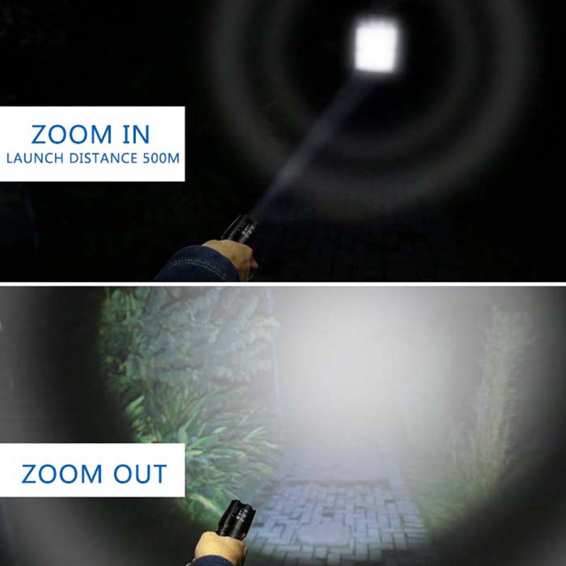 Ultra Bright Powerful LED Flashlight Zoom Tactical Torch XML T6 Rechargeable Outdoor hunting Camping LED torch use 18650 battery in LED Flashlights from Lights Lighting