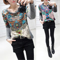 Hot Sale 2016 New Fashion Spring Autumn Women Full Sleeve O-neck Slim Knitting Pullovers Clothing Print Sweater ZL2158