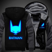 USA size Batman Men Women Cosplay Luminous Zipper Jacket Sweatshirts Thicken Hoodie Coat