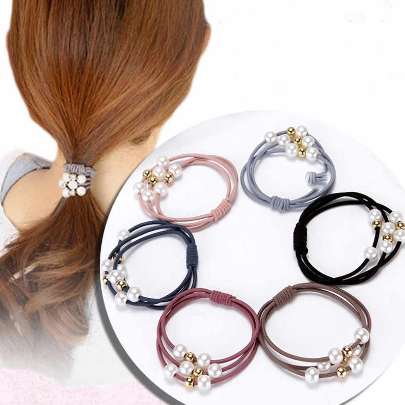3pc Hair Accessories with Pearl Ring Headwear Girl Hair Band Ponytail Holder Rope Hair Jewelry Multi-layer Elastic Rubber Band