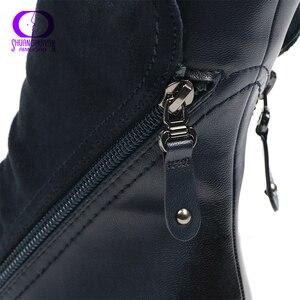 Image 4 - AIMEIGAO ファッションスエード革のブーツフラットミッドカーフブーツ春秋の女性のブーツ黒青靴
