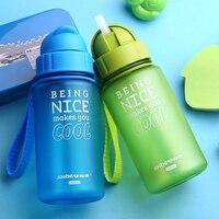 400ml Kid Bottles Baby Water Bottle With Straw Child Drinking Bottle For Water Sport Feeding Plastic