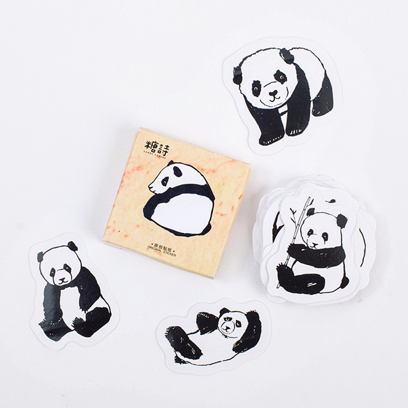 45pcs/lot Cute Panda Animals Decoration Adhesive Stickers DIY Cartoon Stickers Diary Sticker Scrapbook Stationery Stickers