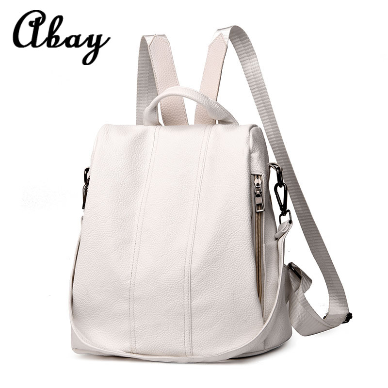 Fashion 2019 Women's Backpack Youth Leather Retro Backpack Girl Bag White Backpack Large Capacity Travel Backpack