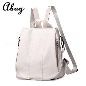 Fashion 2019 women\'s backpack youth leather retro backpack girl bag white backpack large capacity travel backpack - Category 🛒 Luggage & Bags