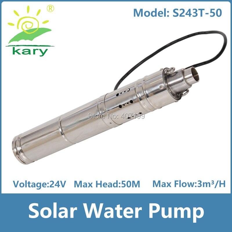 Dc 24v ascenseur 50m 0.5hp débit 3000l/h pompe à eau solaire pour puits profond et irrigation agricole avec contrôleur intelligent