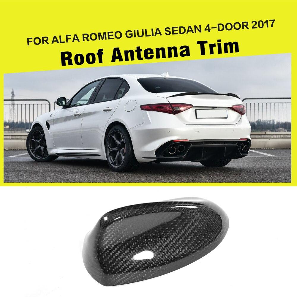 Fibre De carbone Car Styling Auto Toit Antenne Extérieur Garniture Autocollant De Voiture pour Alfa Romeo Giulia 4-Porte 2017