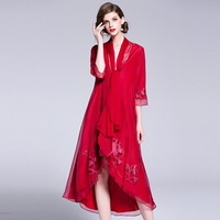 Плюс Размеры Тренч 2018 осень Для женщин Китайский Стиль цветок вышивка Свободный Длинный плащ Тонкий кардиган пончо женские S XXL