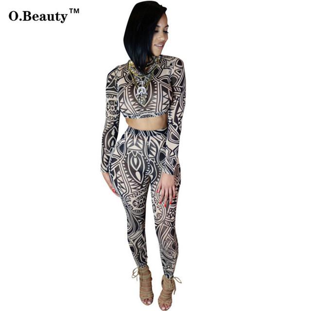 Macacão de Mulheres Elegantes Macacão Tatuagem Tribal Imprimir Duas Peças Set Sexy Bodysuit Manga Longa Celebridade Catsuit Bodycon Macacão