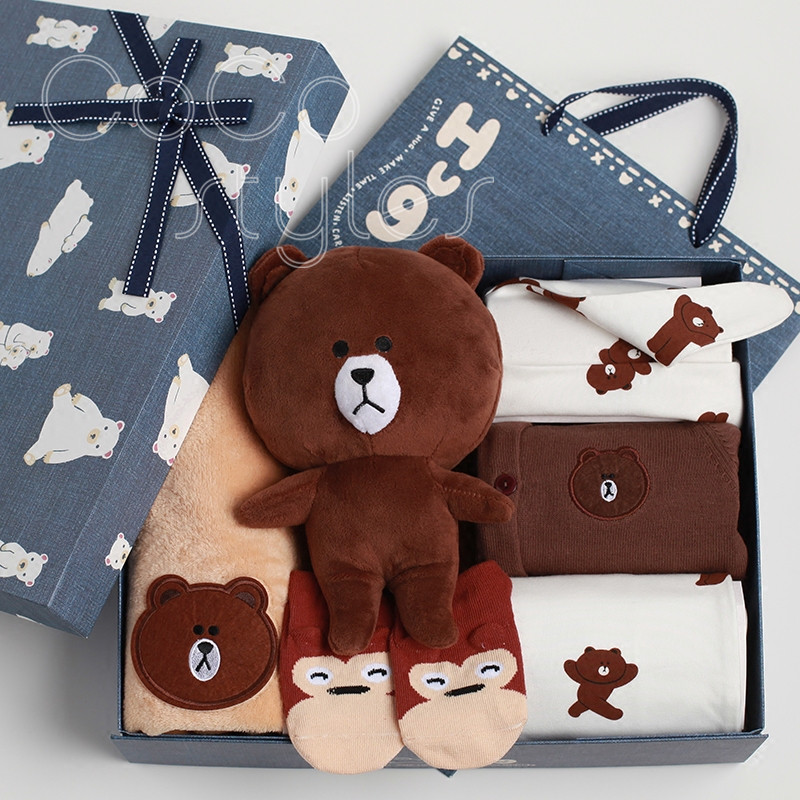 Cocostyles ins super hot premium baby favors shower gift box with lovely clothes baby stuff cute teddy bear for newborn baby boy|Gift Bags & Wrapping Supplies| |  - title=