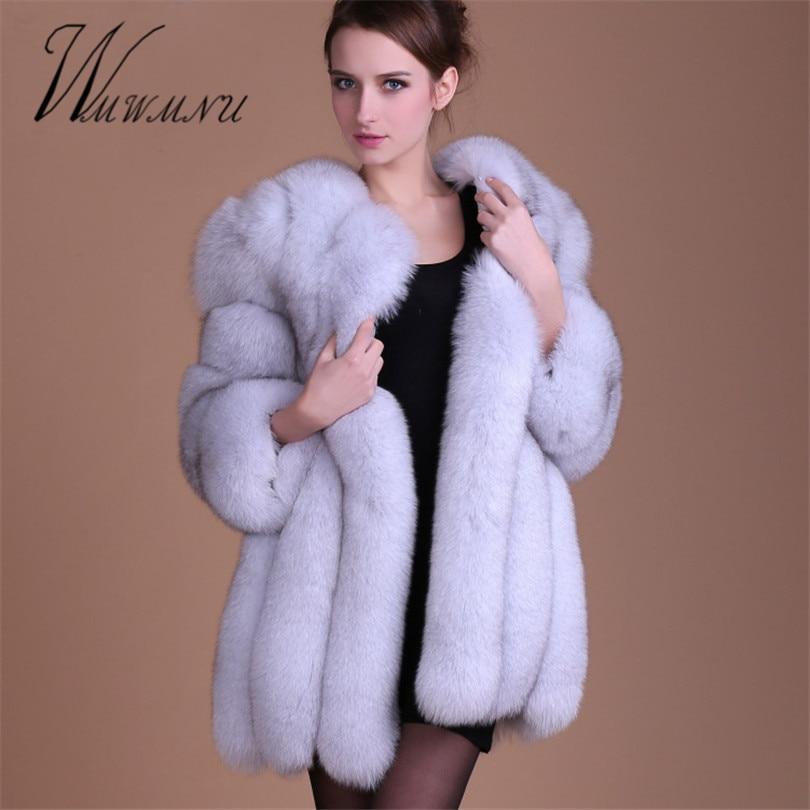 De lujo de la moda abrigo imitación de piel de zorro Mujer Plus tamaño S-4XL abrigo de invierno grueso cálido falso peludo piel chaqueta abrigos chaqueta mujer