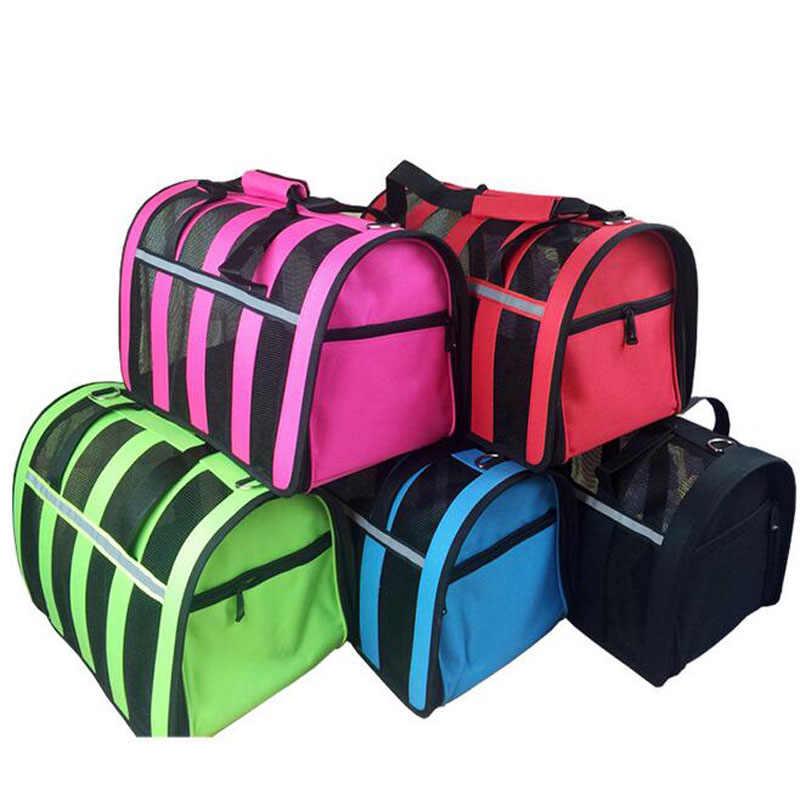 Открытый Портативный Путешествия Pet нейлон в полоску дышащие красочные щенок собака легко носить с собой сумки S-L