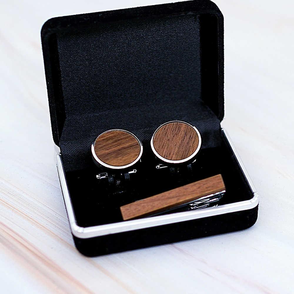 Lazer kazınmış kontrol ahşap tasarım kol düğmesi kravat iğnesi Mens marka manşet düğmeleri kol düğmeleri yüksek kalite takı siyah ceviz