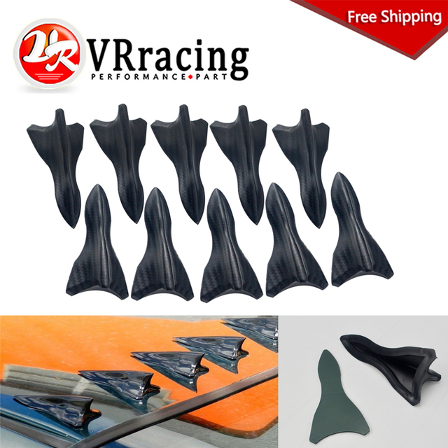 US $10 45 5% OFF|10PCS carbon fiber design looking color VORTEX GENERATOR  FLEXIBLE PP EVO STYLE ROOF SHARK FINS SPOILER WING KIT UNIVERSAL-in  Spoilers