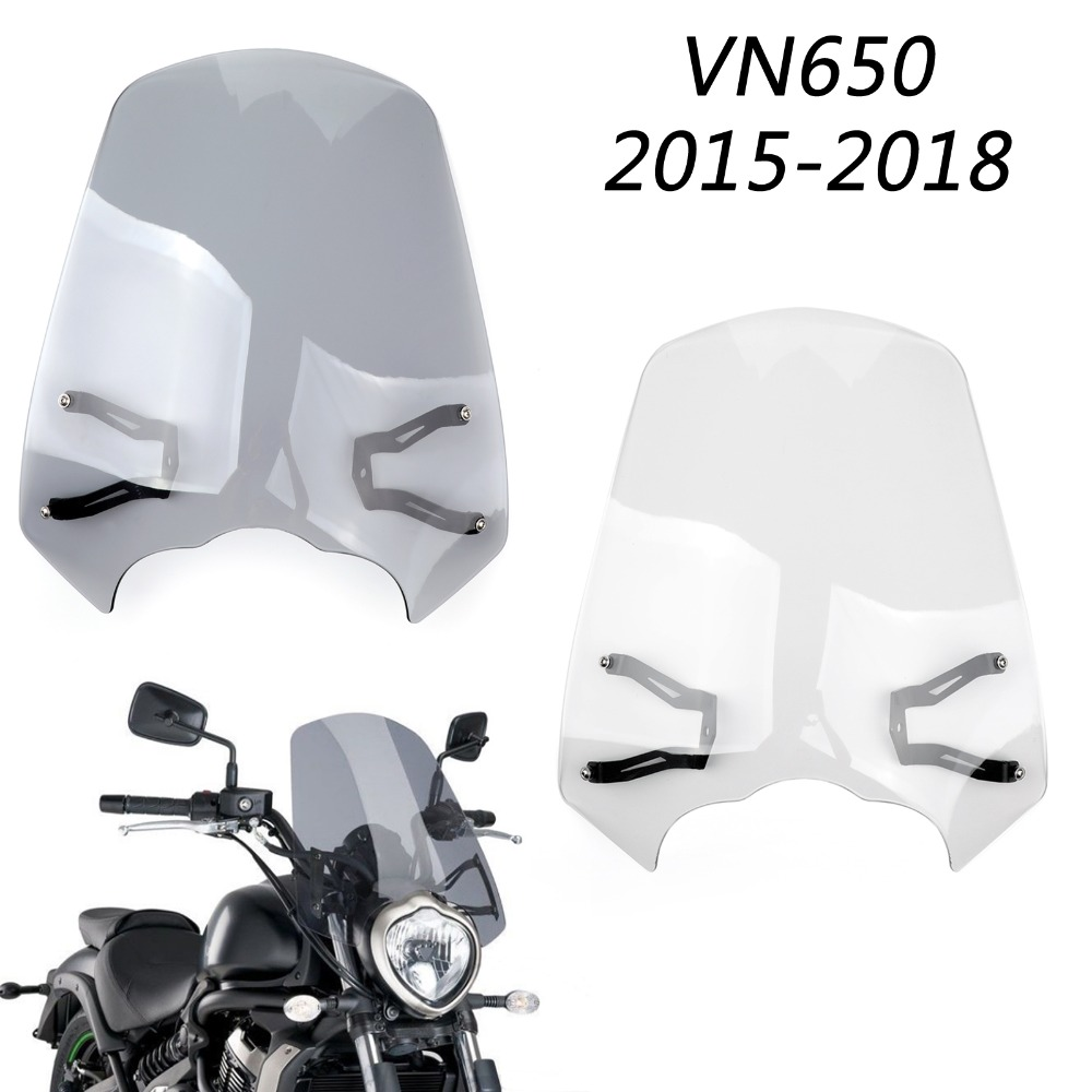 Areyourshop Motorcycle Accessories Windscreen Windshield Screen w Bracket For Kawasaki Vulcan S EN 650 2015 2018
