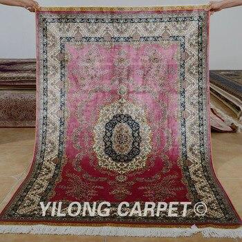 Alfombra tradicional hecha a mano Yilong 4 x 6 Isfahan alfombras de seda kashmiri rojo antiguo (0698)