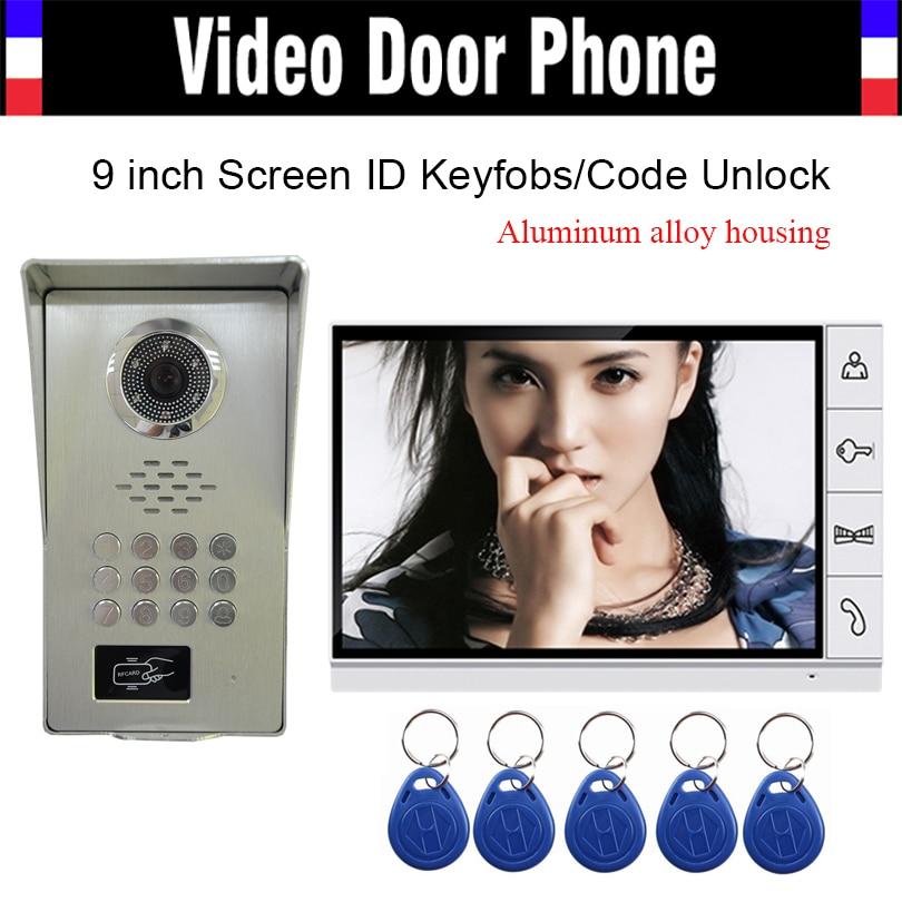 9 Monitor LUXURY Pure Aluminum Alloy Housing RFID Keyfobs Code Password Unlock Video Door phone Intercom IR Camera Doorbell luxury aluminum watch