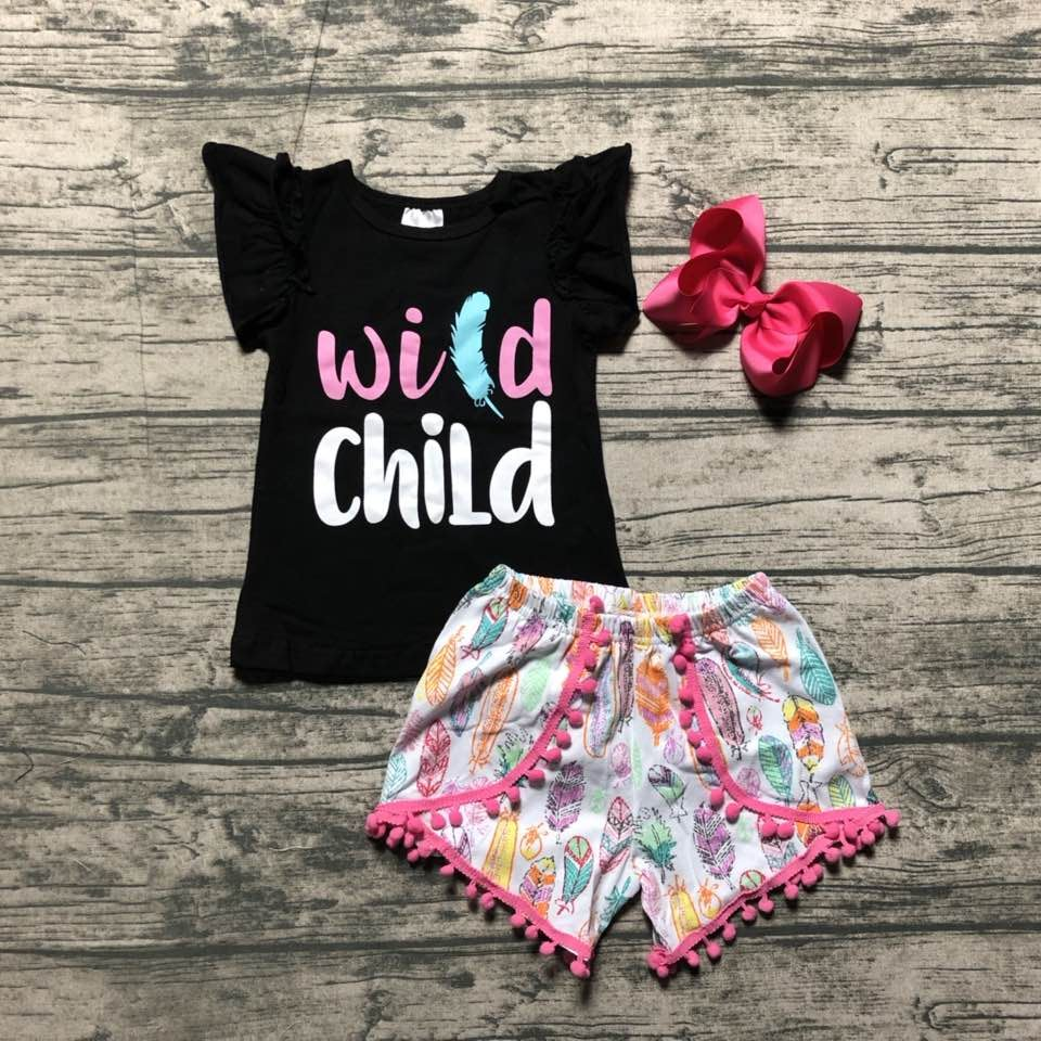 8c3e93e50 baby girls summer outfits kids girls wild child summer outfitsgirls top  with floral shorts clothes with 4inch bows