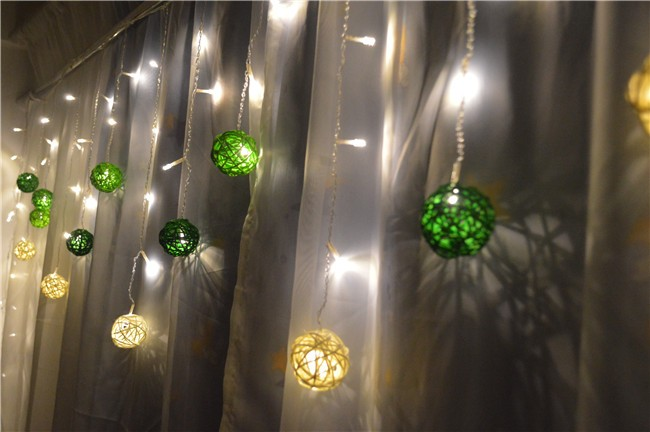 Christmas/wedding/party Icicle Light 4M 96LED 0.3/0.4/0.5m wave shape 8 work Modes LED fairy lamp with exquisite rattan balls