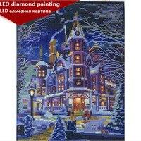 new LED Light Full Round Drill 5D DIY Diamond Painting Winter castle 3D Embroidery Cross Stitch Mosaic Decor Gift 30x40cm