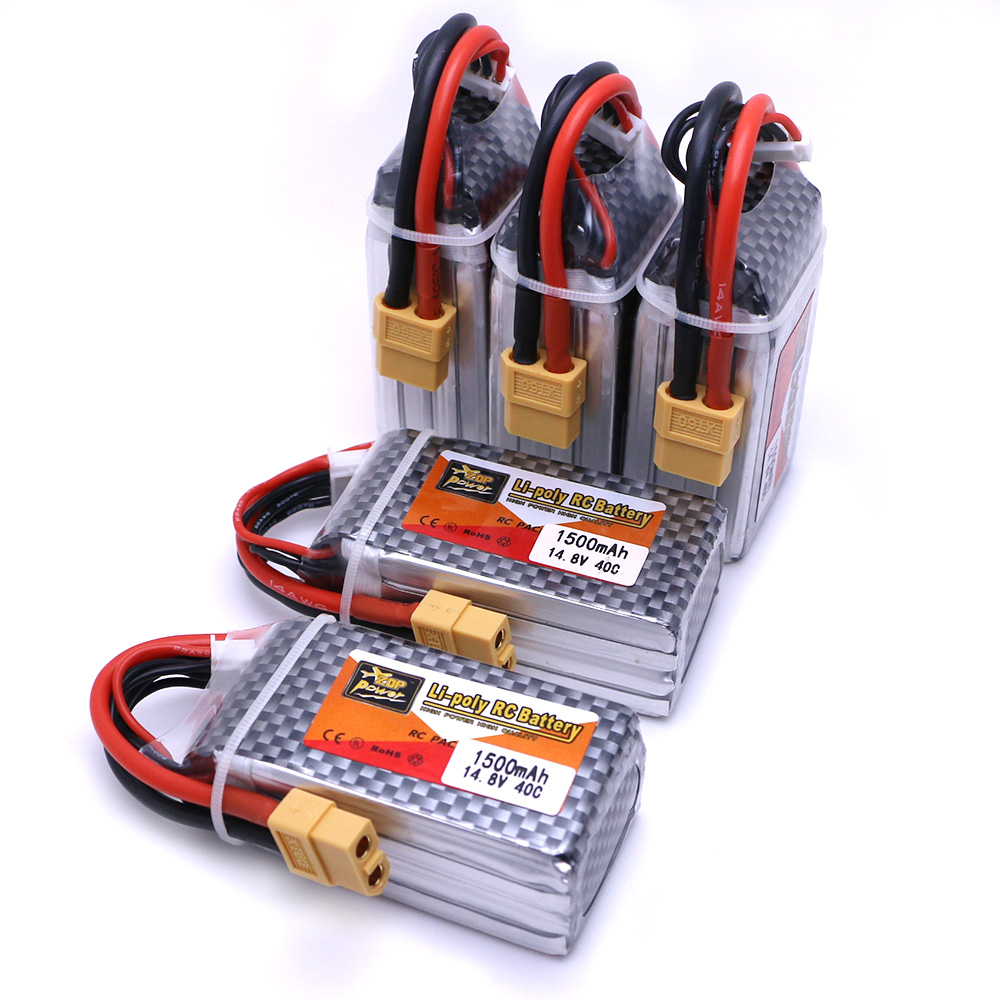 5pcs ZOP Power 14.8 V 1500 mAh 4S 40C Lipo Battery XT60 Plug Rechargeable Battery RC Quadcopter Truck Car Boat Parts markslojd