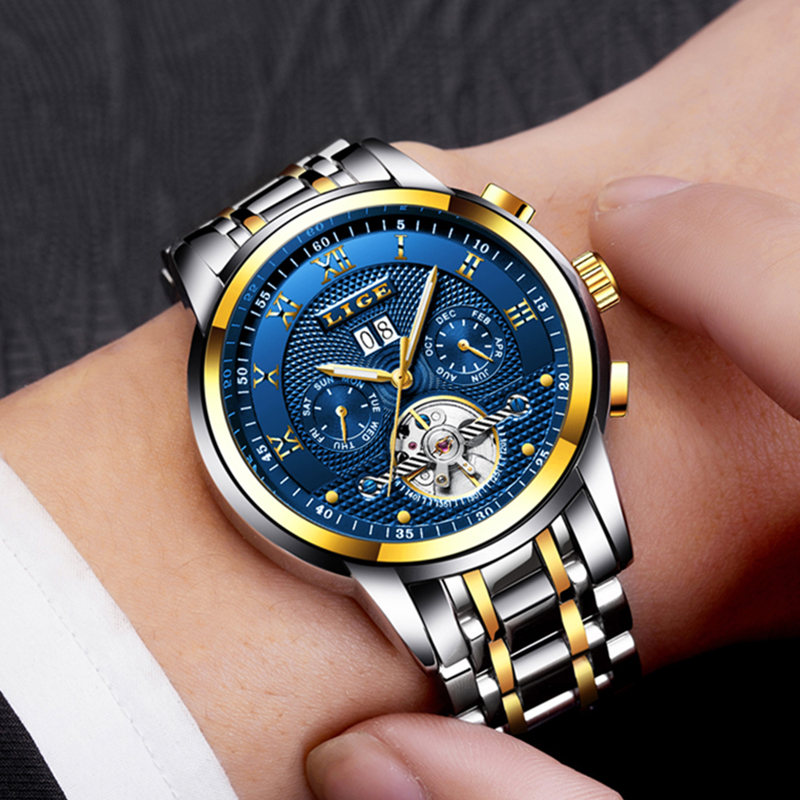 Image 5 - Relogio Masculino LIGE Mens Watches Top Brand Luxury Automatic Mechanical Watch Men Full Steel Business Waterproof Sport Watches-in Mechanical Watches from Watches