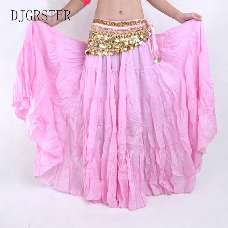 DJGRSTER High Quality Women Belly Dancing Skirts Cheap Belly Dancing Costume Gypsy Skirts 13 Colors Available Training Dress