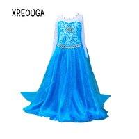 XREOUGA Baby Girl Anna Elsa Dress High Grade Diamond Princess Cinderella Fancy Kids Clothes For Party
