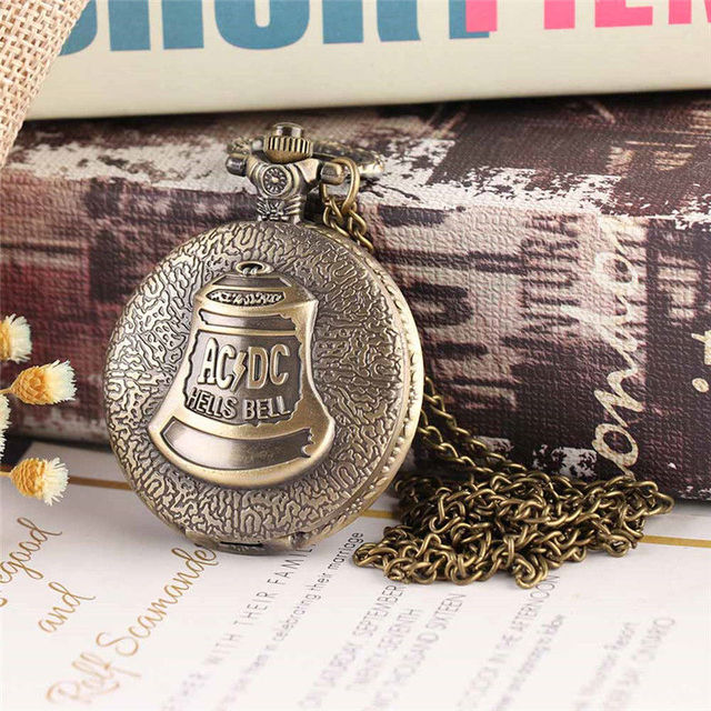 Vintage Quartz Pocket Watch cute bell stationary clock Necklace Pendant men's wa