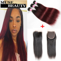 Cheap 3 Bundles With Closure Straight 10A Malaysian Hair Bundles With Closure 1B Burgundy Ombre Straight Hair With Lace Closure