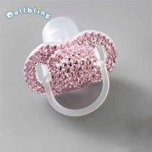 Anneau de dentition personnalisé pour bébé, sucette en diamant rose, soins pour bébé, fleur, Chupetes Brillantes, cadeau de 1er anniversaire