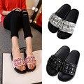Marca de luxo strass sandálias das mulheres couro genuíno cristal beading chinelos de design famoso couro flip flops sandálias plataforma