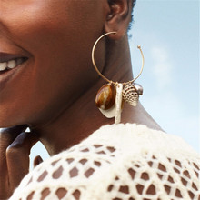 Bohemian Natural Cowrie Shell Drop Earrings For Women Gold Circle Big Earring Pendientes Concha Pearl Boho Jewelry 2019