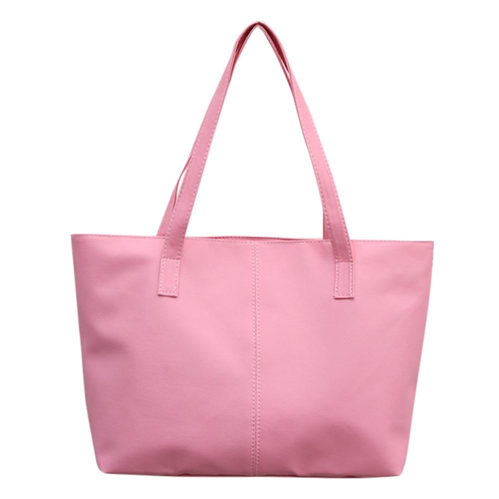 Женская кожаная сумка, роскошная Брендовая женская черная сумка, мягкая большая сумка-мессенджер на плечо, простая сумка для покупок, женская сумка#5 - Цвет: Розовый