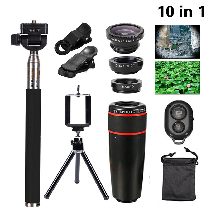 Hohe Qualität 10in1 Objektiv-handy-foto-objektiv Kit 8x Teleobjektiv Fisch auge Weitwinkel Makro Lentes Selfie Mini Stativ Für Handy