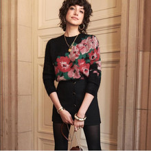 Women New French Floral Print Mohair Black Pull Sweater