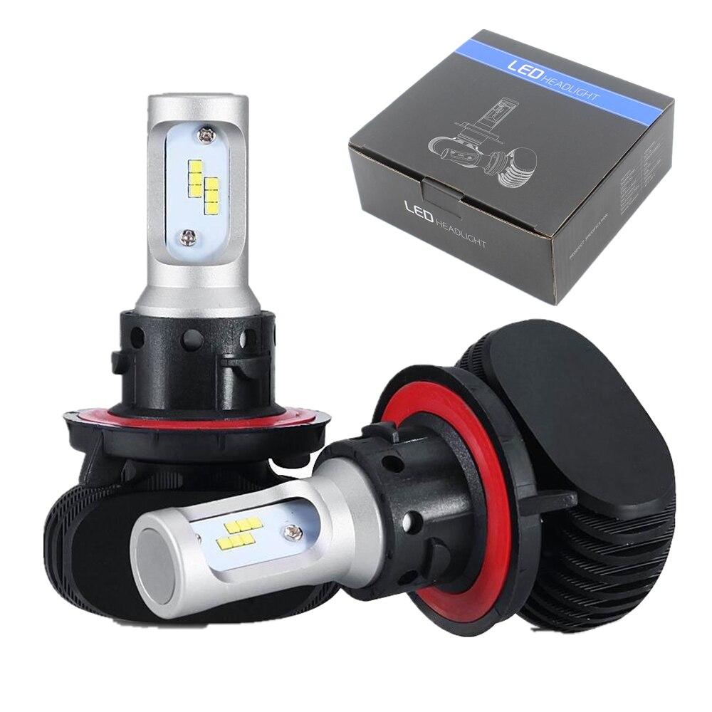 ФОТО 1Pair Super bright H13 9008 Hi/Lo Beam LED Headlight Bulb Car 50W 8000LM Fog Light Daytime Running Light Automobile LED Headlamp