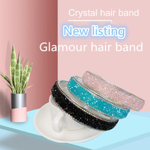 New hair accessories hot diamond beaded crystal band wide edge crushed drill hairpin