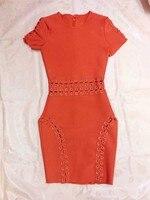 Toptan 2017 ilkbahar ve yaz yeni stil elbise orange kırmızı moda sıkı eğlence ünlü kokteyl parti bandaj elbise (H1407)