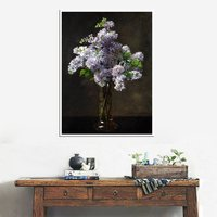 Retro Painting For Home Decorative Purple Little Flowers Oil Handpainted Bedroom Wall Art Painting Christmas Gift