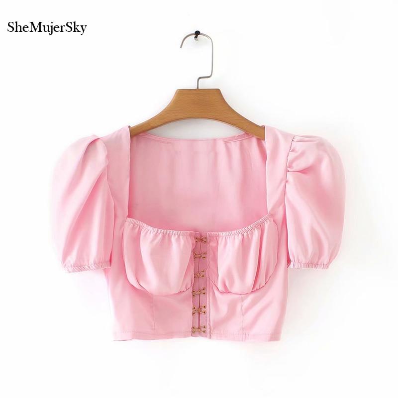 SheMujerSky Vintage Summer Crop   Top   White   Tank     Tops   Hook Buckle Pink Crop   Top   T Shirt 2019